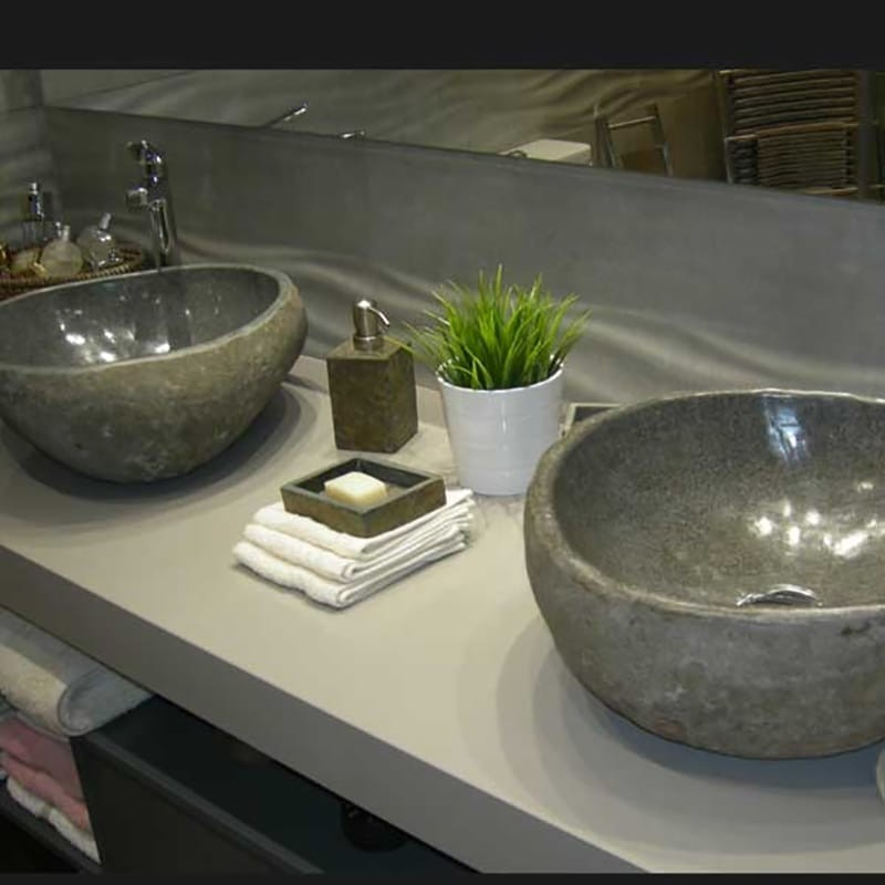 Lavamanos piedra de rio gris medidas irregulares cada - Picas de piedra para bano ...