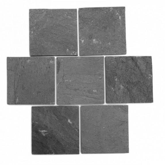 Baldosa de pizarra natural Negra de 10x10 cm
