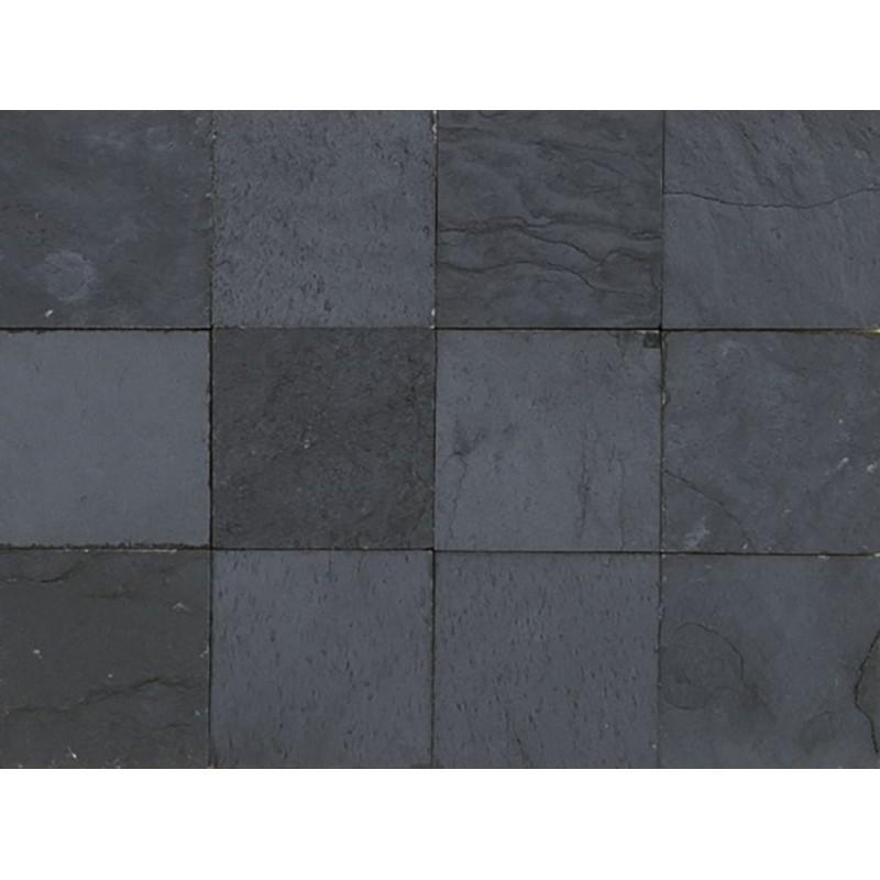 Baldosa de pizarra natural negra de 10x10 cm - Baldosa piedra natural ...